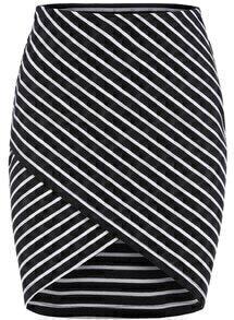 Black Cross Front Striped Bodycon Skirt