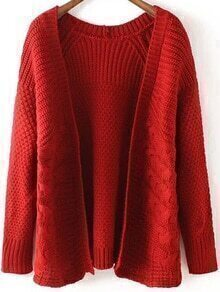Cable Knit Red Cardigan