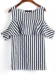 Open Shoulder Vertical Striped Blue T-shirt