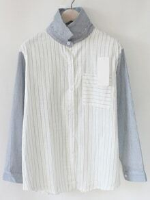 Contrast Sleeve Vertical Striped Blue Blouse