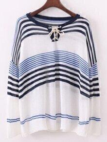 Self-Tie Striped Sweater