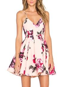 Pink Spaghetti Strap Backless Floral Print Flare Dress