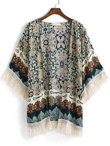 With Tassel Paisley Print Kimono