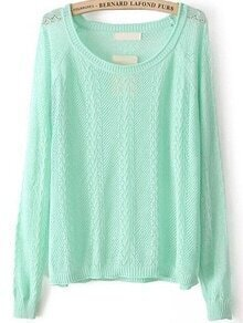Cable Knit Hollow Green Sweater