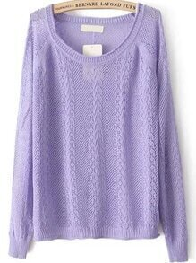 Cable Knit Hollow Purple Sweater