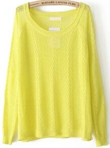 Cable Knit Hollow Yellow Sweater