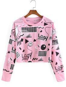 Graphic Print Crop Sweatshirt