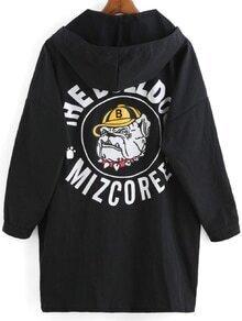 Hooded With Pockets Dog Print Thin Coat