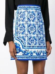 White Vintage Print Zipper Skirt