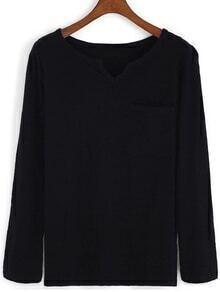 V Neck With Pocket Black T-shirt