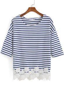 Half Sleeve Crochet Hem Striped T-shirt