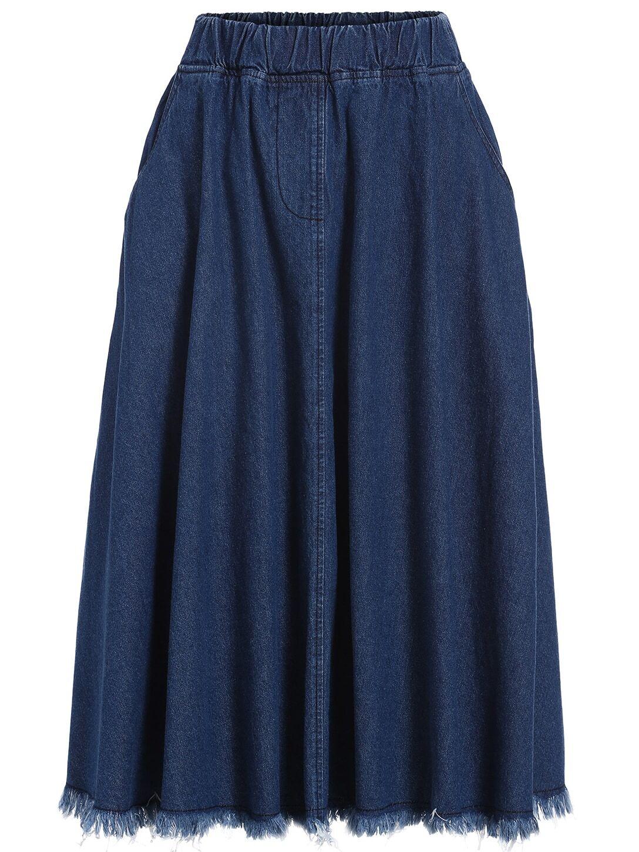 elastic waist frayed denim skirt