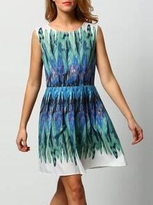 White Green Sleeveless Feather Print Dress