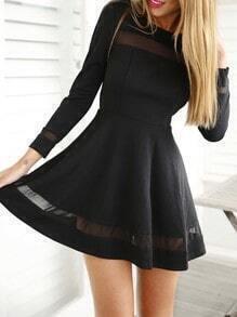 Black Long Sleeve Contrast Mesh Yoke Flare Dress