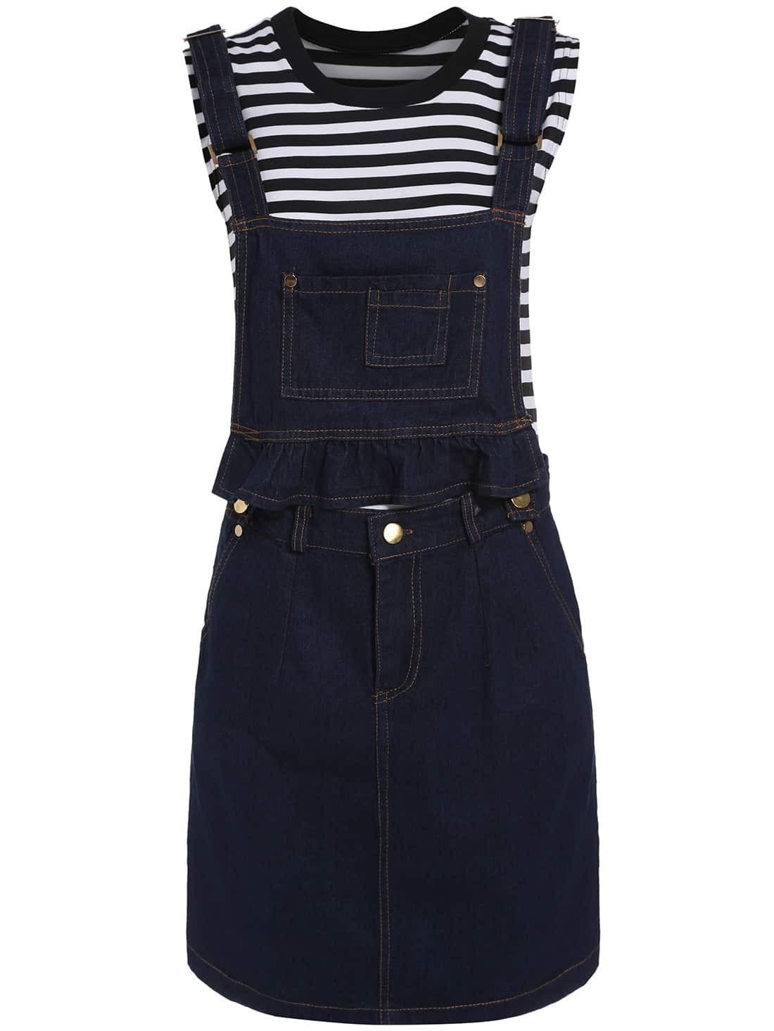 sleeveless striped top with denim skirt