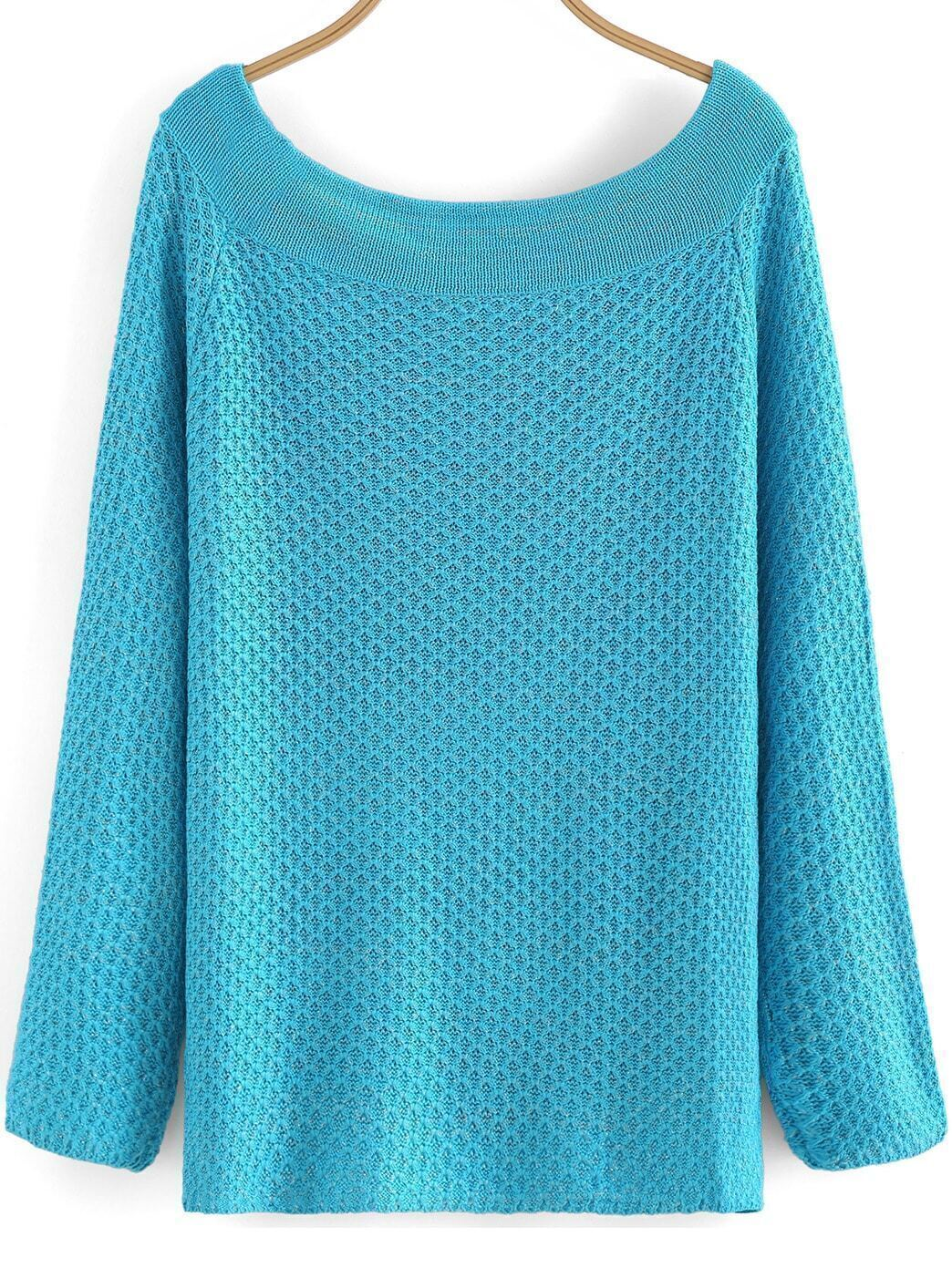 Boat Neck Knit Blue Sweater
