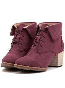 Wine Red Pointy Lace Up Rugged Boots