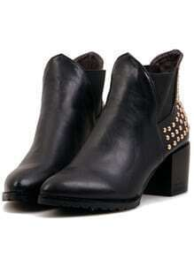 Black Pointy With Studded Rugged Boots