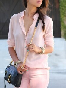 Pink Stand Collar With Buttons Blouse