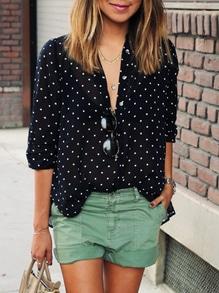 Blusa lunares con botones -negra