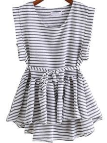 Black White Round Neck Striped Dip Hem Top
