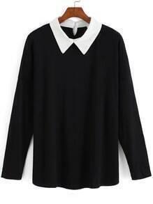Black Contrast Lapel Long Sleeve Blouse