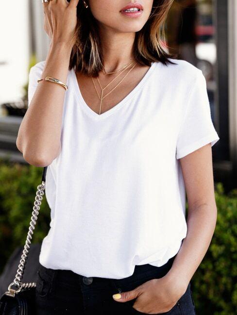 White v neck loose t shirtfor women romwe for Best white t shirt women s v neck