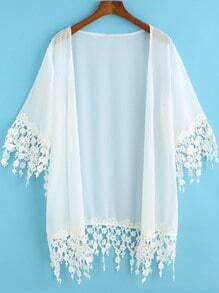 Kimono dentelle manches mi-longues -blanc