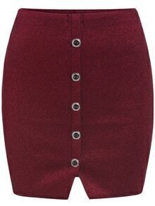 Red Buttons Knit Bodycon Skirt