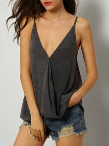 Grey Deep V Neck Cami Top