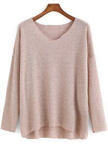 V Neck Dip Hem Apricot Sweater
