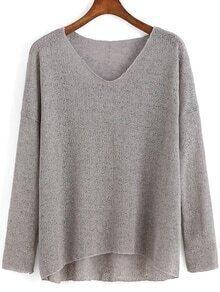 V Neck Dip Hem Grey Sweater
