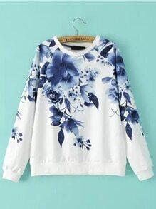 Blue Round Neck Floral Loose Sweatshirt