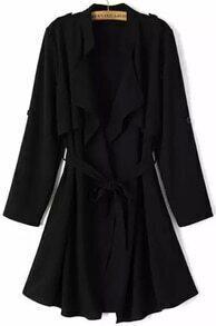 Black Long Sleeve Epaulet Tie-waist Trench Coat