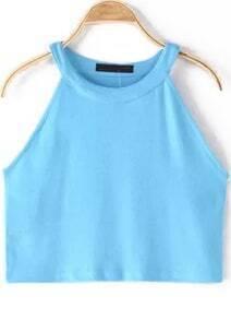 Blue Halter Crop Cami Top