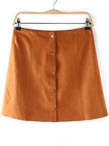Brown Buttons A Line Skirt