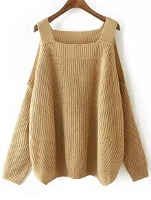 Khaki Cold Shoulder Knit Loose Sweater