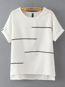 Camiseta manga corta rayas -blanca