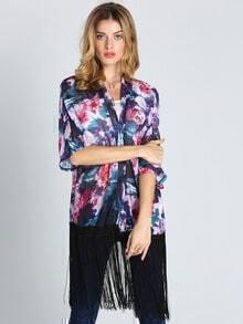 Multicolor Half Sleeve Floral Print Tassel Kimono