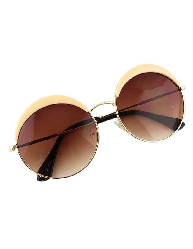 Fashionable Round Pink Oversized Sunglasses