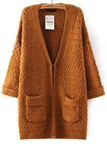 Yellow V Neck Pockets Knit Cardigan