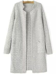 Cardigan tricot col montant -gris clair
