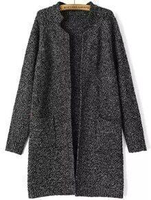 Black Stand Collar Long Sleeve Knit Cardigan