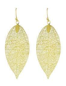 Fashion Gold Plated Hollow Out Big Leaf Earrings