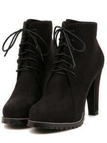 Black Platform Lace Up Rugged High Heeled Boots
