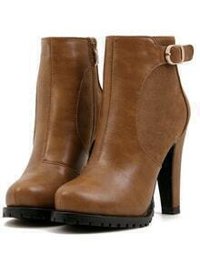 Brown Platform Buckle Strap Rugged High Heeled Boots