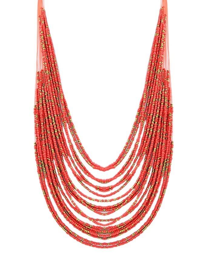 Красный Многослойные Длинное Ожерелье Бусины
