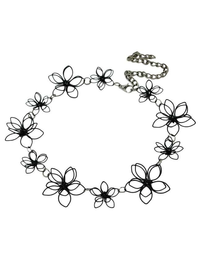 New Fashion Alloy Pretty Women Black Flower Necklace