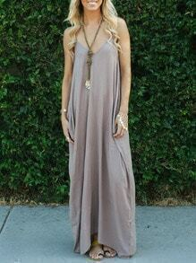 Coffee Spaghetti Strap Backless Maxi Dress