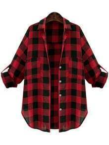 Lapel Plaid Buttons  Blouse